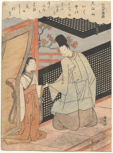 Suzuki%20Harunobu%2C%20%3Cb%3E%3Ci%3E%20Koshikibu%20no%20Naishi%20detains%20her%20poetry%20rival%2C%20Fujiwara%20no%20Sadayori%2C%20from%20an%20untitled%20series%20of%20Hyakunin%20isshu%20%28One%20Hundred%20Poets%2C%20One%20Poem%20Each%29%3C%2Fi%3E%3C%2Fb%3E%2C%201767%2F1768%2C%20color%20woodblock%20print%20with%20embossing%20on%20paper%3B%20ch%26%23363%3Bban%20nishiki-e%2C%20The%20Mary%20Andrews%20Ladd%20Collection%2C%20public%20domain%2C%2032.69
