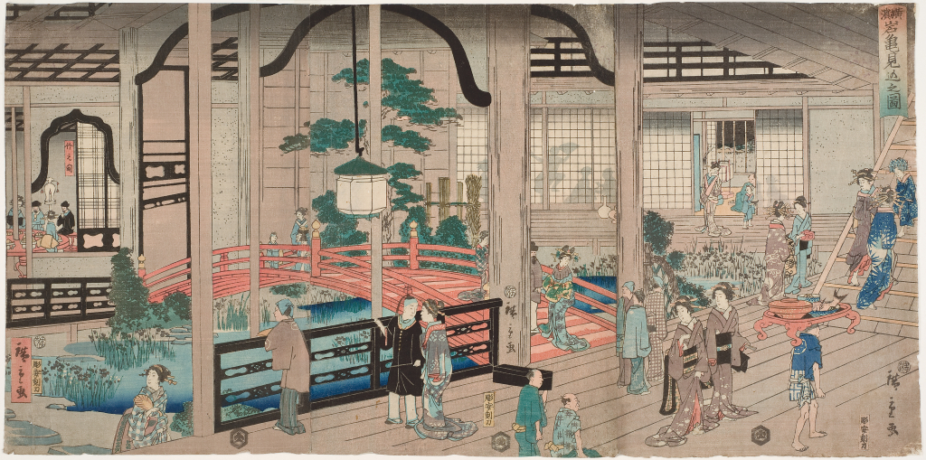 Utagawa%20Hiroshige%20II%2C%20%3Cb%3E%3Ci%3E%20Yokohama%20Ganki%20mikomi%20no%20zu%20%28A%20Peek%20at%20the%20Gankir%26%23244%3B%20Brothel%2C%20Yokohama%29%3C%2Fi%3E%3C%2Fb%3E%2C%201860%2C%206th%20month%2C%20%26%23244%3Bban%20nishiki-e%20%28color%20woodblock%20print%29%3B%20triptych%2C%20The%20Mary%20Andrews%20Ladd%20Collection%2C%20public%20domain%2C%2032.564