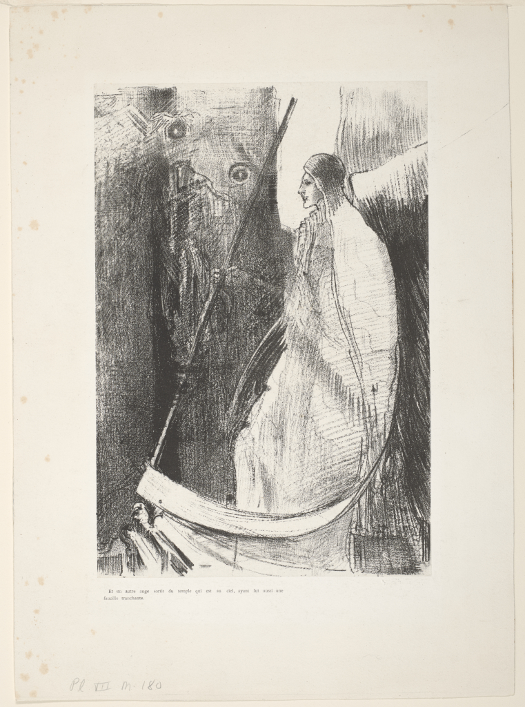 Odilon%20Redon%2C%20%3Cb%3E%3Ci%3E%20Et%20un%20autre%20ange%20sortit%20du%20temple%20qui%20est%20au%20ciel%2C%20ayant%20lui%20aussi%20uni%20faucille%20tranchante%20%28And%20another%20angel%20came%20out%20of%20the%20temple%20which%20is%20heaven%2C%20and%20he%20also%20had%20a%20sharp%20sickle%29%2C%20from%20the%20portfolio%20Apocalypse%20de%20Saint-Jean%20%28Apocalypse%20of%20Saint%20John%29%3C%2Fi%3E%3C%2Fb%3E%2C%201899%2C%20lithograph%20printed%20chine%20coll%26%23233%3B%20on%20paper%2C%20Gift%20of%20Drs.%20Louis%20and%20Annette%20Kaufman%2C%20public%20domain%2C%2082.93.64