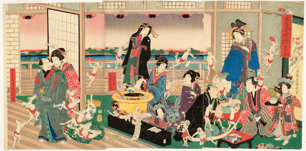 Utagawa%20Yoshiiku%2C%20%3Cb%3E%3Ci%3E%20Kane%20kinchaku%20ojime%20no%20zendama%20%28Virtuous%20Imps%20Vying%20for%20the%20Purse%20Strings%20of%20a%20Nouveau-riche%29%3C%2Fi%3E%3C%2Fb%3E%2C%201860%2C%20%26%23244%3Bban%20nishiki-e%20%28color%20woodblock%20print%29%3B%20triptych%2C%20Gift%20of%20Louis%20and%20Annette%20Kaufman%2C%20public%20domain%2C%2083.67.1C