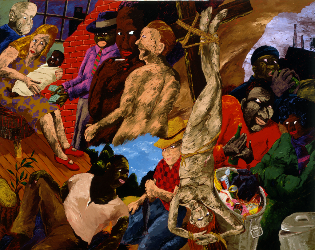 Robert%20Colescott%2C%20%3Cb%3E%3Ci%3E%20Knowledge%20of%20the%20Past%20is%20the%20Key%20to%20the%20Future%3A%20Upside%20Down%20Jesus%20and%20the%20Politics%20of%20Survival%3C%2Fi%3E%3C%2Fb%3E%2C%201987%2C%20oil%20on%20canvas%2C%20Museum%20Purchase%3A%20Robert%20Hale%20Ellis%20Jr.%20Fund%20for%20the%20Blanche%20Eloise%20Day%20Ellis%20and%20Robert%20Hale%20Ellis%20Memorial%20Collection%2C%20%26%23169%3B%201987%20Robert%20Colescott%2C%2088.3
