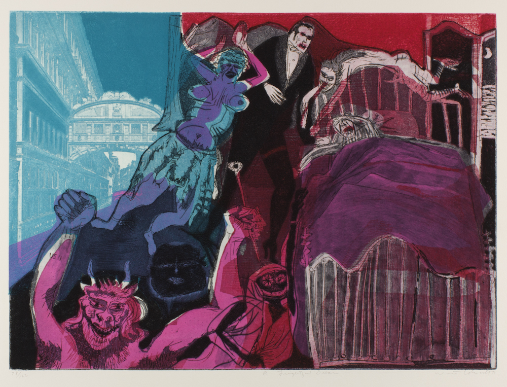 Warrington%20Colescott%2C%20%3Cb%3E%3Ci%3E%20Death%20in%20Venice%3A%20A%20Frightful%20Dream%3C%2Fi%3E%3C%2Fb%3E%2C%201971%2C%20soft-ground%20etching%2C%20drypoint%2C%20photoetching%2C%20and%20aquatint%2C%20with%20vibrograver%2C%20and%20relief%20rolls%20through%20stencils%2C%20printed%20in%20color%20on%20cream%20Arches%20paper%2C%20The%20Herbert%20and%20Nancy%20Bernhard%20Collection%2C%20%26%23169%3B%20Warrington%20Colescott%2C%2091.54.5