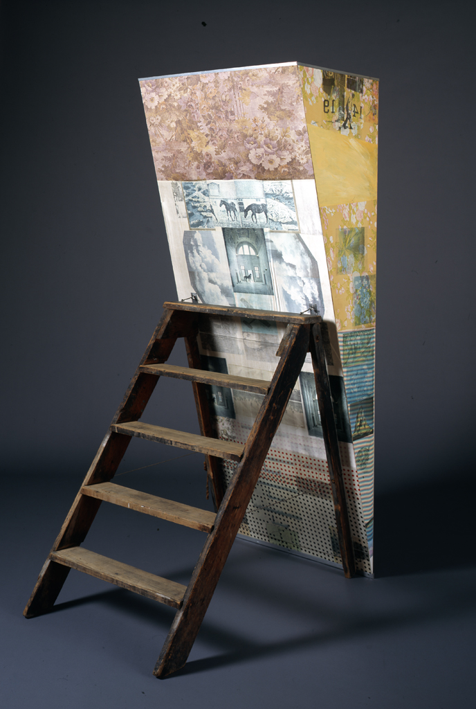 Robert%20Rauschenberg%2C%20%3Cb%3E%3Ci%3E%20Patrician%20Barnacle%20%28Scale%29%3C%2Fi%3E%3C%2Fb%3E%2C%201981%2C%20solvent%20transfer%2C%20acrylic%2C%20and%20fabric%20on%20wood%20with%20mirrored%20Plexiglas%2C%20safety%20reflector%2C%20and%20wood%20stepladder%2C%20Museum%20Purchase%3A%20Funds%20provided%20by%20Carol%20and%20John%20Hampton%2C%20%26%23169%3B%20Robert%20Rauschenberg%20Foundation%2C%202007.5